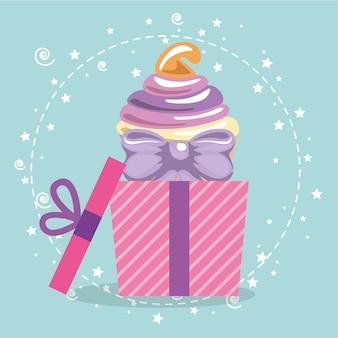 Doce e delicioso cupcake com presente