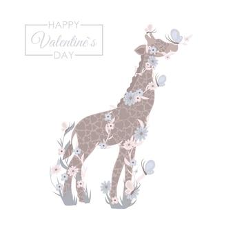 Doce girafa - dia dos namorados Vetor grátis