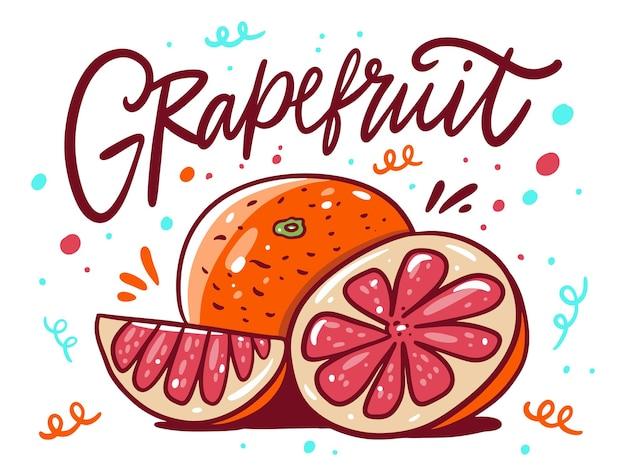 Doce greapefruit. estilo de desenho animado.