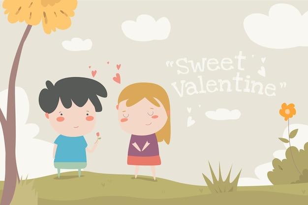 Doce ilustração plana dos namorados ilustração linda criança desin