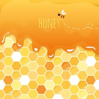 Doce mel brilhante com favo de mel.
