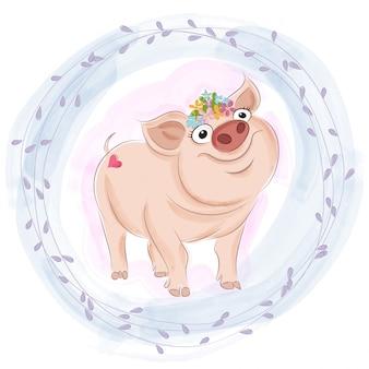 Doce, menina bebê, porco, sorrindo