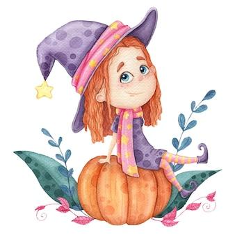 Doce menina bruxa sentada em uma abóbora, ilustração infantil para impressão