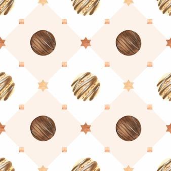 Doce padrão de aquarela de natal com bombons de chocolate