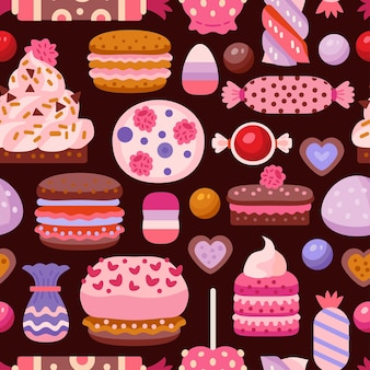 Doce padrão sem emenda com cupcakes diferentes