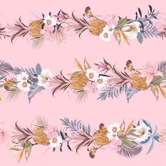 Doce retro verão tropical floresta exótica com flores desabrochando verão e frutas criar na linha design de listra horizontal