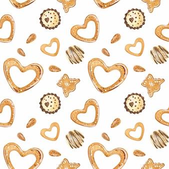 Doce romântico aquarela padrão com bombons de chocolate