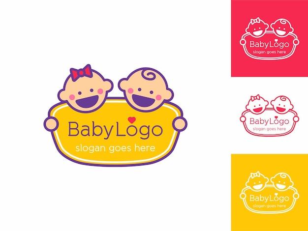Doce sorriso feliz, logotipo de menino menina para brinquedos de cuidados e loja de acessórios contorno de vetor estilo cartoon