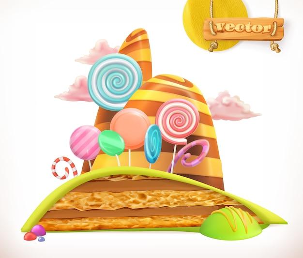 Doce terra. bolo, cupcake, ilustração de doces