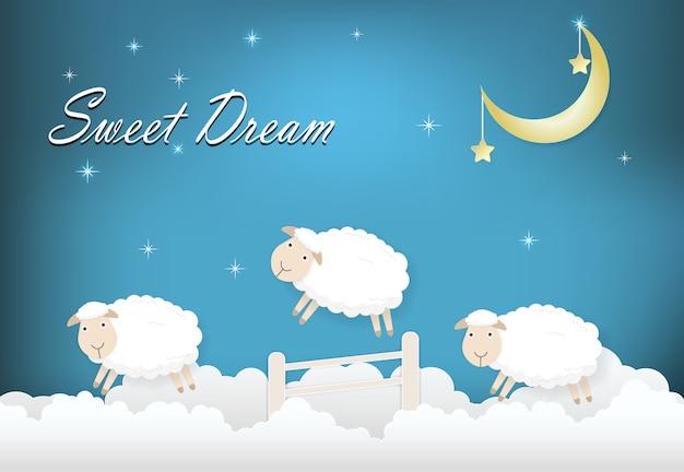 Doce texto sonhador com ovelhas pulando na nuvem