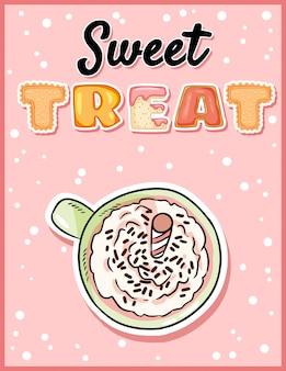 Doce tratar bonito cartão postal engraçado com copo de café com leite