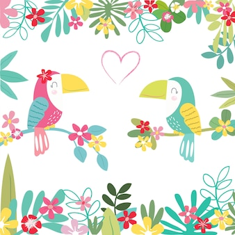 Doce um papagaio casal no padrão de floresta tropical.