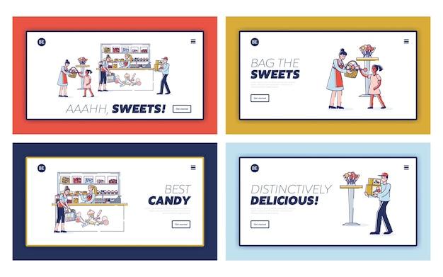 Doceria com adultos e crianças comprando doces saborosos