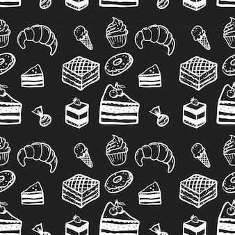 Doces, bolo, padrão sem emenda