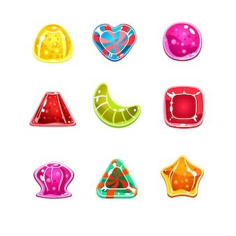 Doces brilhantes coloridos de várias formas