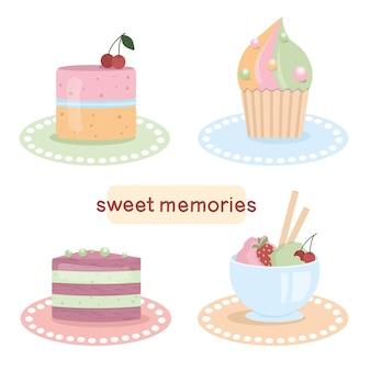 Doces com bolos e sorvetes