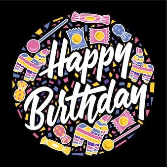 Doces de cartão feliz aniversário