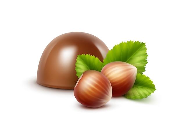 Doces de chocolate ao leite realistas de vetor com avelãs em branco