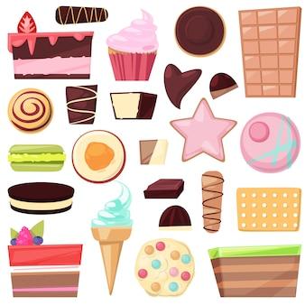Doces de chocolate doces de confeitaria e sobremesa doce confecção na ilustração de candyshop de bolo confuso ou cupcake com creme de chocolate conjunto isolado no fundo branco