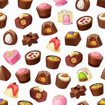 Doces de chocolate, trufas, praliné sem costura padrão