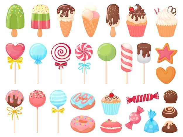 Doces de desenho animado. sorvetes doces, cupcakes e bombons de chocolate.