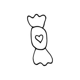 Doces de elemento desenhado de mão única com coração para cartões, cartazes, adesivos e design sazonal. isolado em um fundo branco. ilustração em vetor doodle.