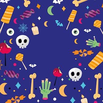 Doces de halloween com fundo azul, tema assustador