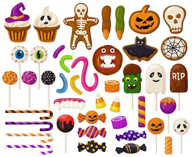 Doces de halloween. desenhos animados doces de halloween, pirulitos assustadores, cupcakes e doces gelatinosos assustadores conjunto de ilustração vetorial. truque ou trate os doces de halloween. lollipop candy riscas, caveira caramelo doce