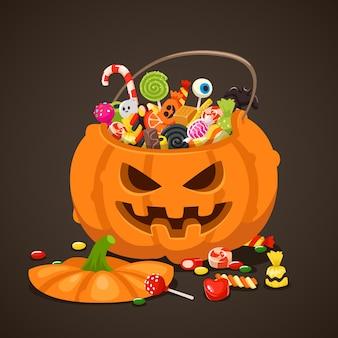 Doces de halloween em saco de abóbora.