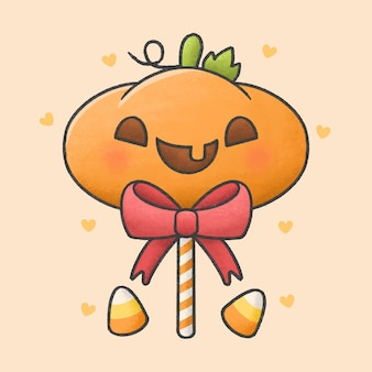 Doces de halloween pirulito de abóbora cartoon estilo mão desenhada