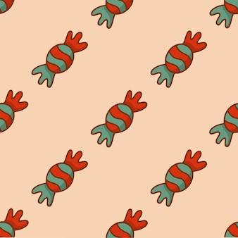 Doces de natal com padrão de fundo ilustração em vetor mídia social pós-decoração de natal