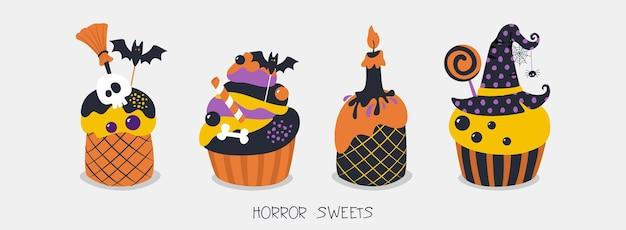 Doces de terror para o design de convites de cartazes de halloween