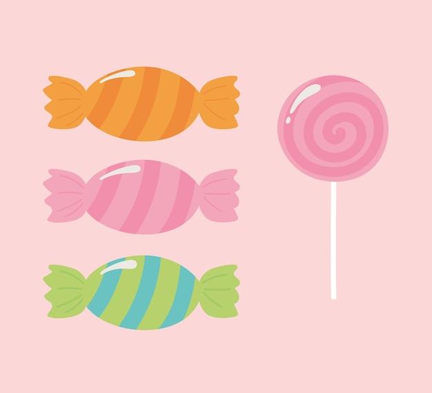 Doces doces, confeitaria, sobremesa, ícones rosa, fundo