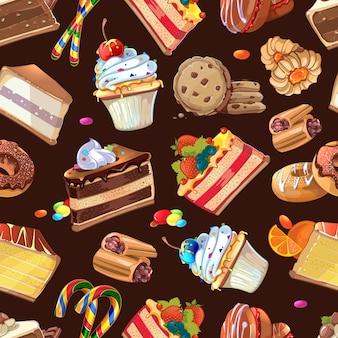 Doces, doces e bolos de fundo sem emenda, creme saboroso sem fim, ilustração vetorial