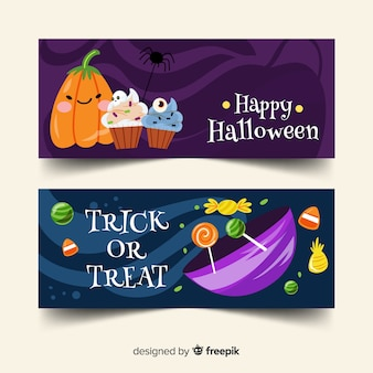 Doces e doces banners de halloween plana