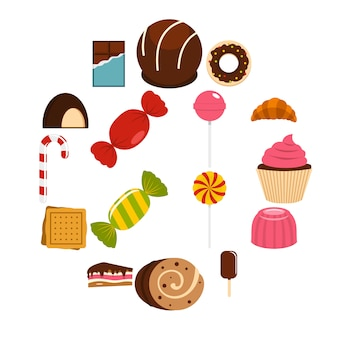 Doces e doces ícones definidos em estilo simples