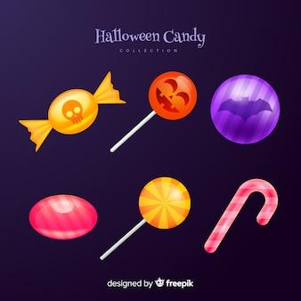 Doces e pirulito doces de halloween de cana