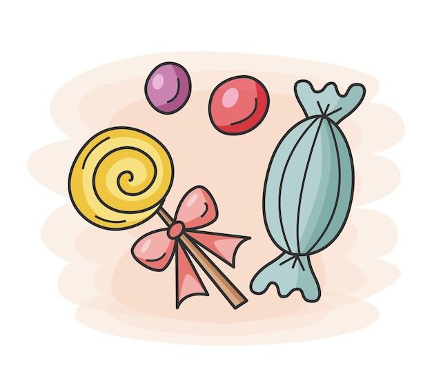 Doces e pirulito em estilo doodle ícone de comida para bares, restaurantes e lojas