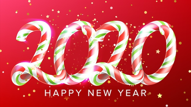 Doces em forma de feliz ano novo banner de 2020