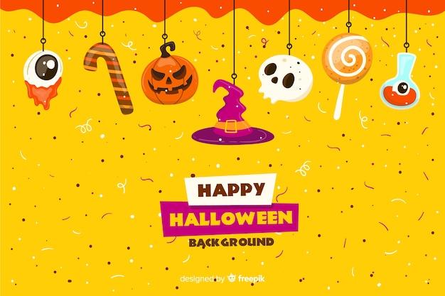 Doces em fundo de confete halloween plana