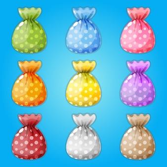 Doces embrulhados em 9 cores.