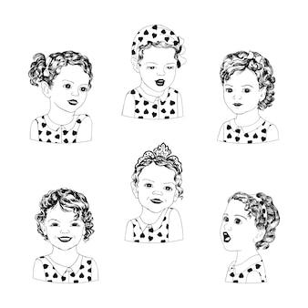 Doces garotinhas com emoções diferentes em um estilo pop art. mão desenhando um conjunto de seis garotas em várias poses e emoções. crianças de estilo retro americano pop art.