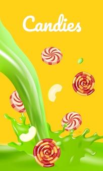 Doces listrados. gotas de maçãs cortadas no banner líquido verde