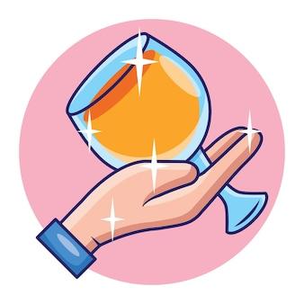 Doces mãos segurando taças de vinho, conceito de bebida alcoólica, vetor premium
