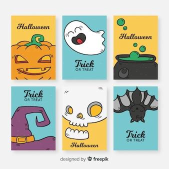 Doces ou travessuras coleção de cartão de dia das bruxas em design plano