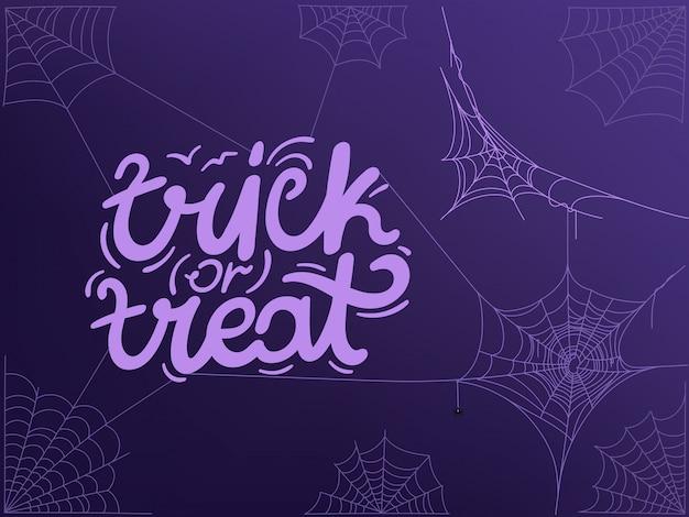 Doces ou travessuras conceito com logotipo e teia de aranha