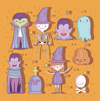 Doces ou travessuras conjunto de caracteres de feliz dia das bruxas
