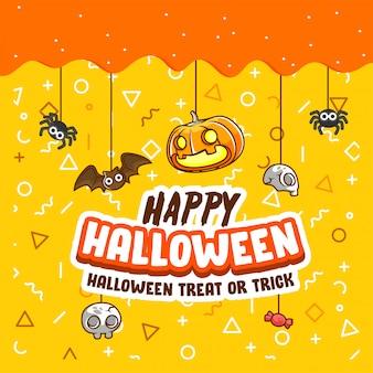 Doces ou travessuras de halloween saudação banner e cartaz, pimpkin, morcego, aranha -