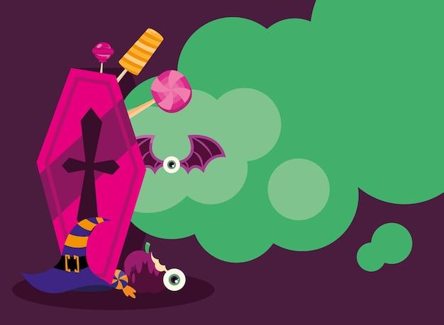 Doces ou travessuras dentro de caixão e design de chapéu de bruxa, tema assustador de halloween