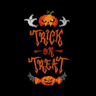 Doces ou travessuras desenho de letras ilustração em vetor ornamentado de halloween